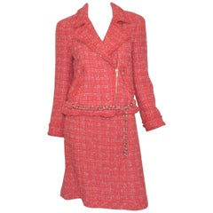 Chanel Coral Tweed Skirt with Chain Belted Jacket Set