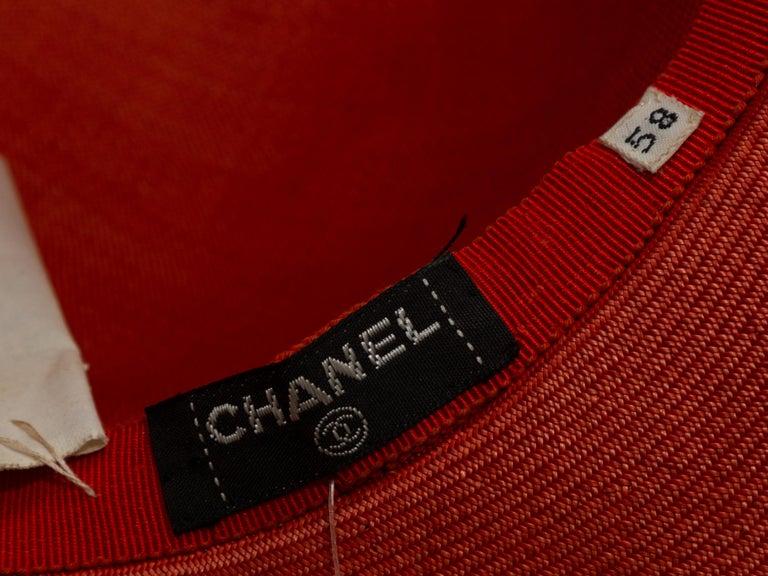Orange Chanel Coral Wide Brim Straw Hat For Sale