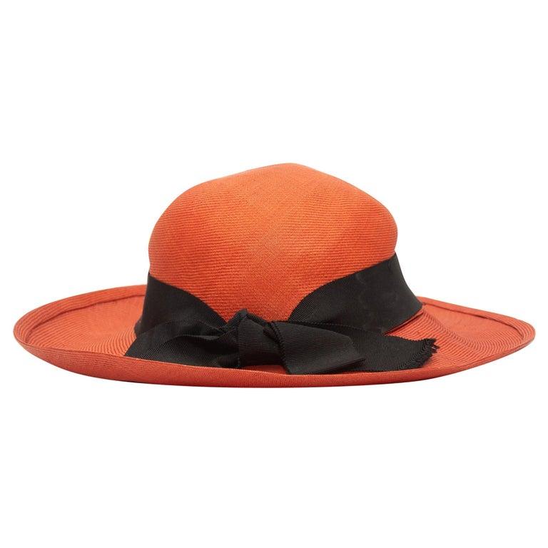 Chanel Coral Wide Brim Straw Hat For Sale
