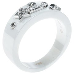 Chanel Cosmique de Chanel Diamond 18k White Gold Ceramic Band Ring Size 50