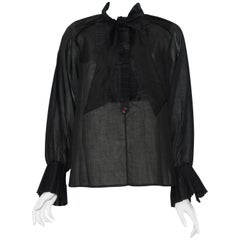 Chanel Cotton Long Sleeve Blouse W/ Pleated Ruffles at Front and Cuffs 38