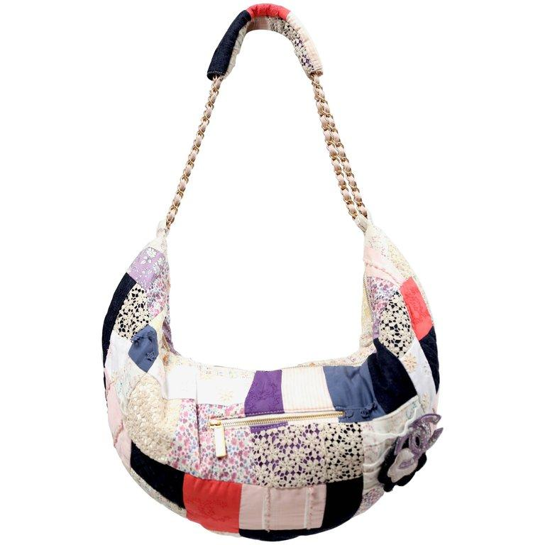 4245f487a2 CHANEL cotton Patchwork Hobo Bag For Sale at 1stdibs