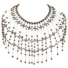 Chanel Couture Breastplate With Black and Blue Beads