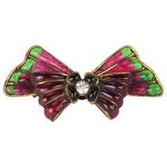 Chanel Couture Gripoix Poured Glass Bow Brooch