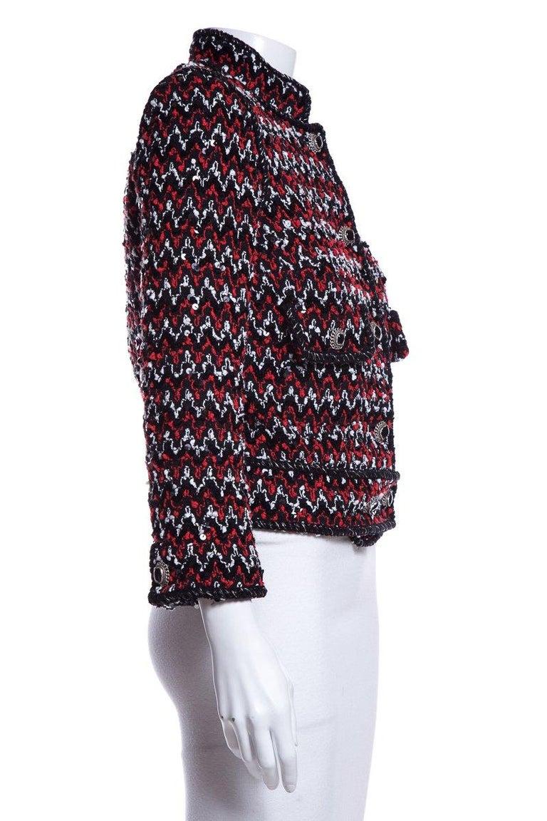 Black CHANEL  Couture Multicolor Tweed Jacket SZ 36 For Sale
