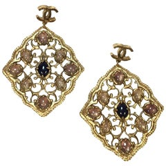 Chanel Couture Pendant Stud Earrings in Gilt Metal and Molten Glass