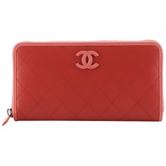 Chanel Covered CC Zip Around Wallet Quilted Lambskin Long