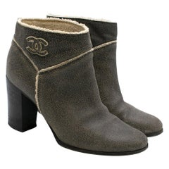 Chanel Crackled Suede Shearling Lined Ankle Boots SIZE 37.5