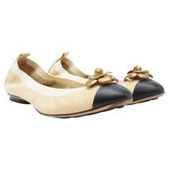 Chanel Cream & Black Tweed Ballet Flats