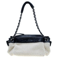 Chanel Cream/Black Woven Fabric and Leather LAX Accordion Satchel