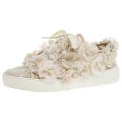 Chanel Cream CC Camellia Lace Low Top Sneakers Size 36