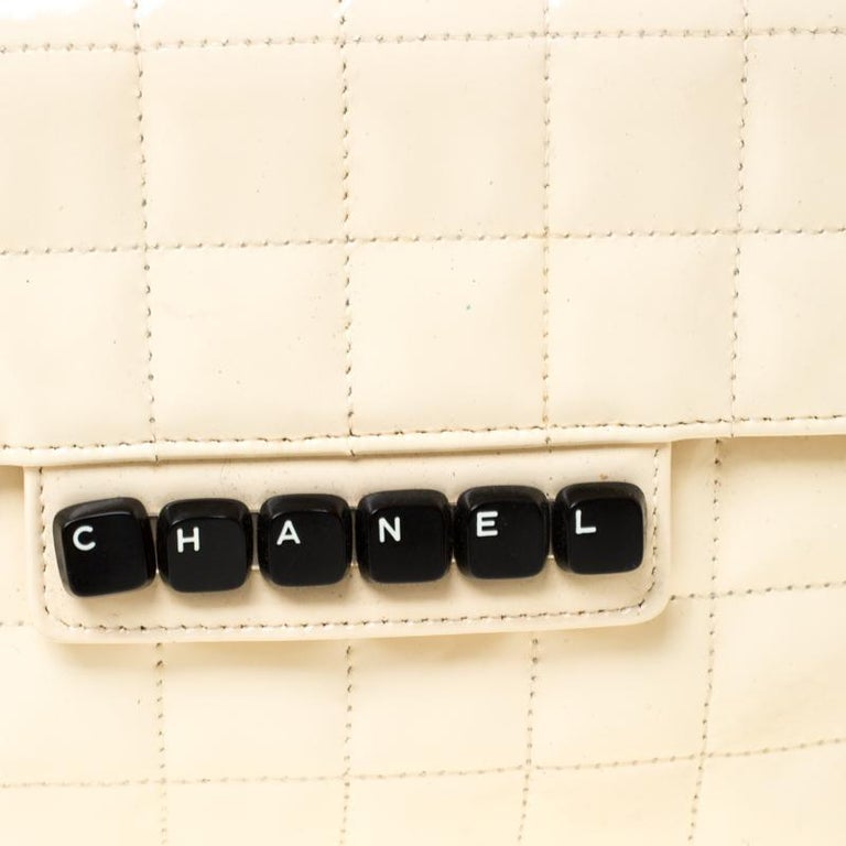 Chanel Cream Chocolate Bar Quilted Patent Leather Keyboard Flap Bag For Sale 6