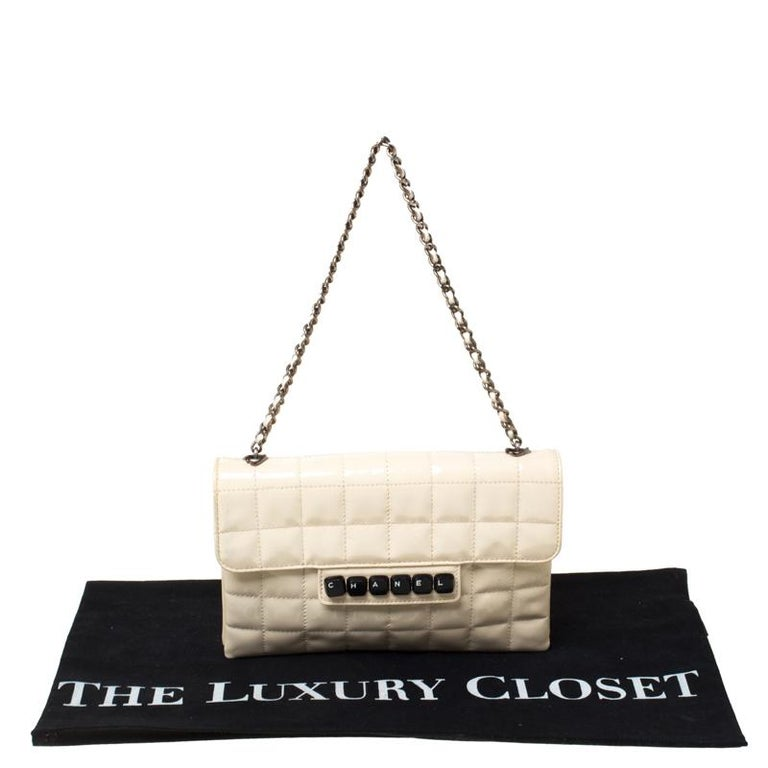 Chanel Cream Chocolate Bar Quilted Patent Leather Keyboard Flap Bag For Sale 7