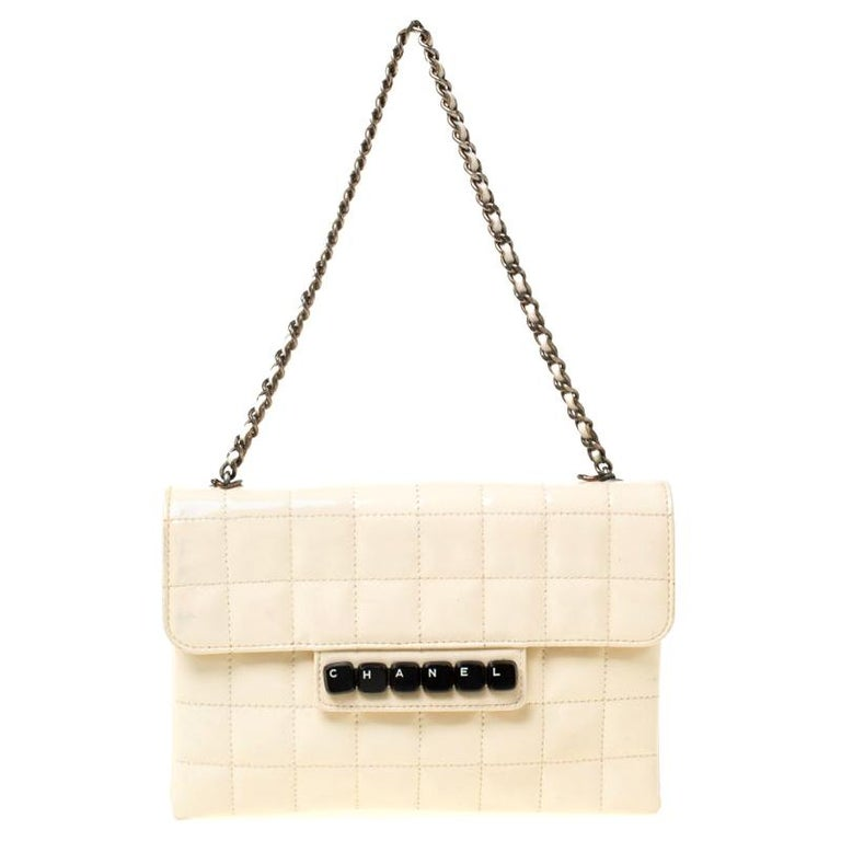 Chanel Cream Chocolate Bar Quilted Patent Leather Keyboard Flap Bag For Sale