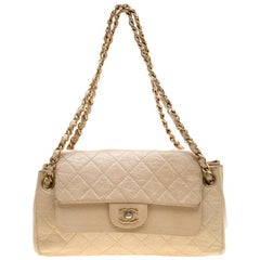 Chanel Cream Crinkled Leather Double Flap Shoulder Bag