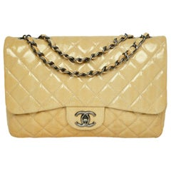 Chanel Cream Crumpled Patent Quilted Single Flap Jumbo Classic Bag