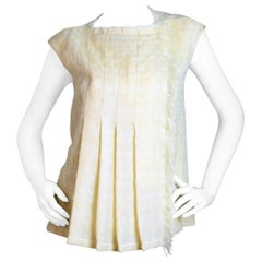 Chanel Cream Front Pleated Boucle Sleeveless Top sz FR38