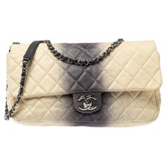 Chanel Cream/Grey Ombre Quilted Caviar Leather Jumbo Classic Single Flap Bag