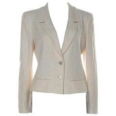 Chanel Cream & Iridescent Detail Cotton Blend Knit Blazer L