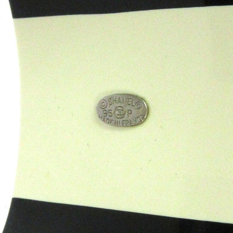 Women's Chanel Cream Ivory Black Gold Stripe Logo Charm Bangle Cuff Bracelet in Box  For Sale
