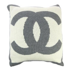 Chanel Cream Ivory Gray Grey Cashmere Silk Wool Bed Couch Chair Throw Pillow