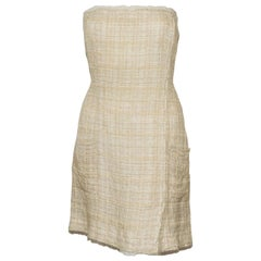 Chanel Cream & Ivory Tweed Strapless Dress/Top From 2006 Cruise Collection