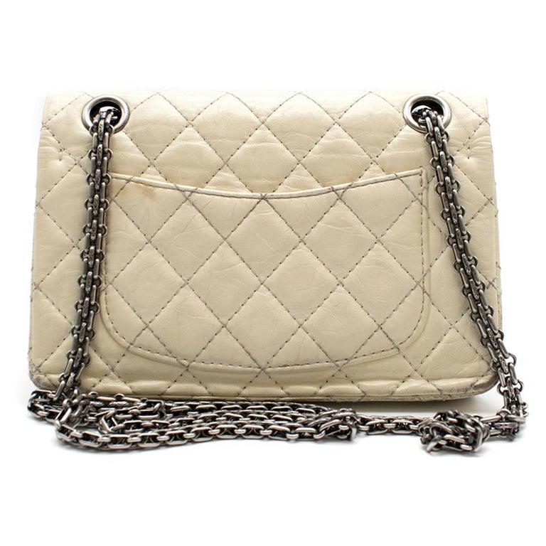 Beige Chanel Cream Lambskin Mini Reissue 2.55 Bag For Sale