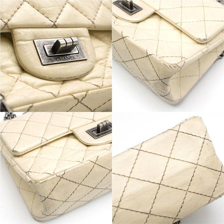 Chanel Cream Lambskin Mini Reissue 2.55 Bag In Fair Condition For Sale In London, GB