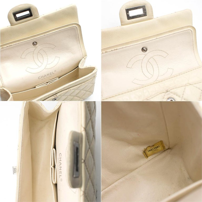 Chanel Cream Lambskin Mini Reissue 2.55 Bag For Sale 3