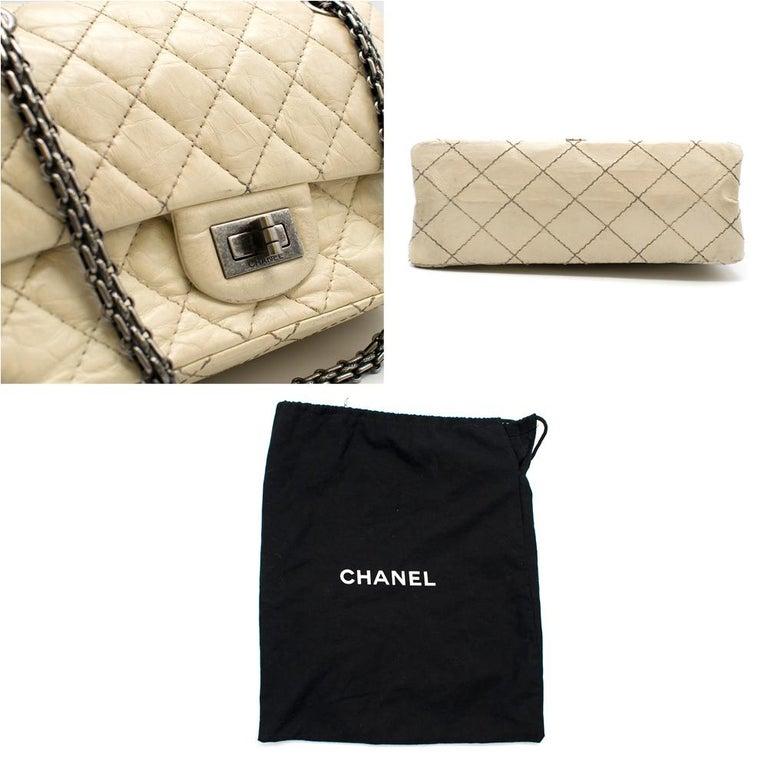 Chanel Cream Lambskin Mini Reissue 2.55 Bag For Sale 4