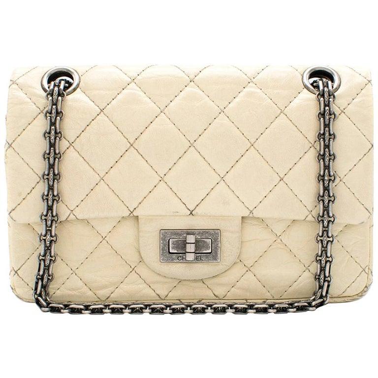 Chanel Cream Lambskin Mini Reissue 2.55 Bag For Sale