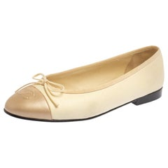 Chanel Cream/Metallic Beige Leather CC Cap Toe Bow Ballet Flats Size 37.5