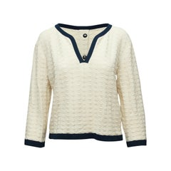 Chanel Cream & Navy V-Neck Sweater