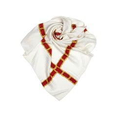 Chanel cream printed silk scarf one size