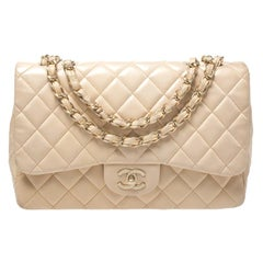 Chanel Cream Quilted Leather Jumbo Classic Single Flap Bag