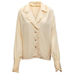 Chanel Cream Ruffle-Trimmed Button-Up Blouse