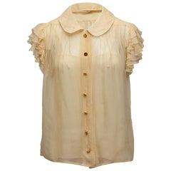 Chanel Cream Short Ruffle Sleeve Top