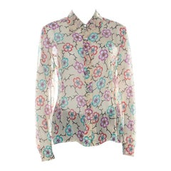 Chanel Cream Silk Chiffon Floral Logo Printed Sheer Shirt M