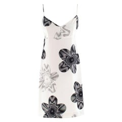 Chanel Cream Silk Floral Patterned Slip Dress SIZE 38