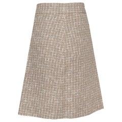 Chanel Cream Tweed A-Line Skirt M