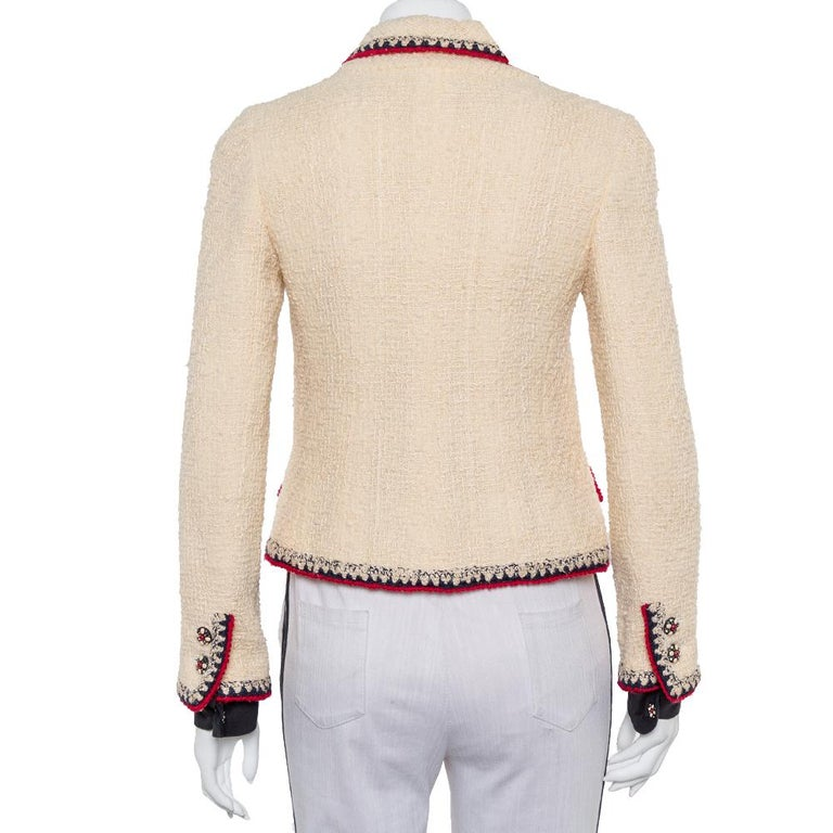 Beige Chanel Cream Tweed Contrast Trim Detail Button Front Aztec Jacket M For Sale