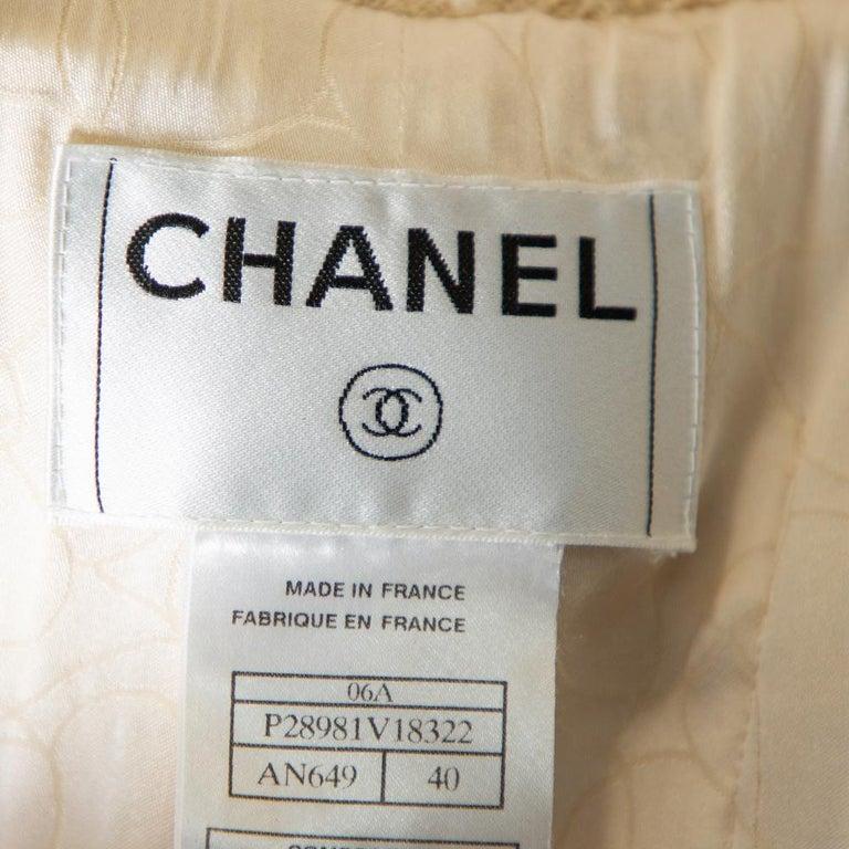 Women's Chanel Cream Tweed Contrast Trim Detail Button Front Aztec Jacket M For Sale