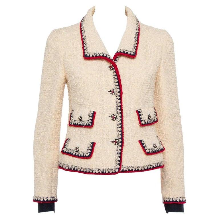 Chanel Cream Tweed Contrast Trim Detail Button Front Aztec Jacket M For Sale