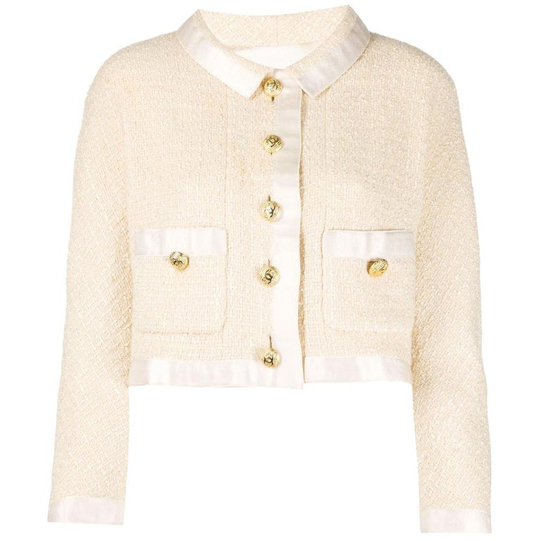 Chanel Cream Tweed Crop Jacket For Sale
