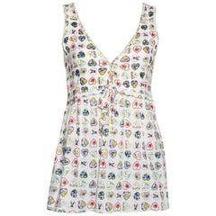 Chanel Cream Valentine Print Ribbed Cotton Sleeveless Top L