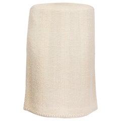 CHANEL cream wool BOUCLE TWEED Knee Length Skirt 36 XS