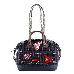 Chanel Crest Trip Bowling Bag Patch Embellished Tweed And Grained Calfskin Mediu