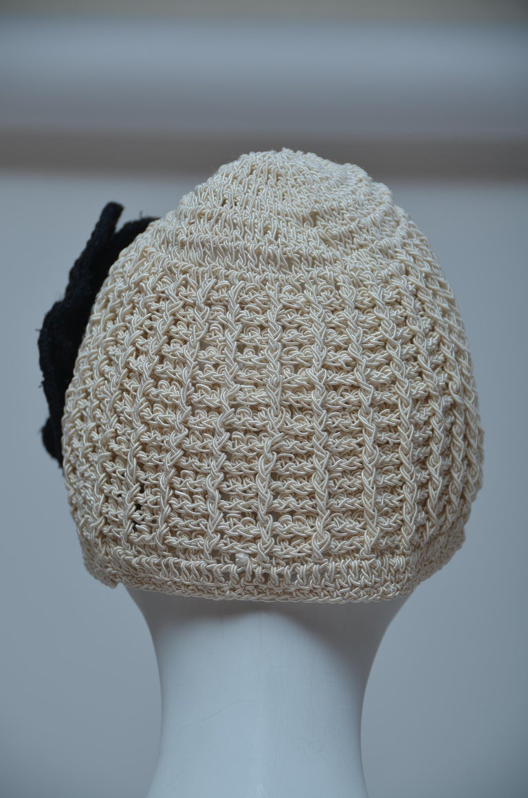 Women's or Men's CHANEL Crochet Camellia Hat Beanie With Black Camellia Flower   Mint  For Sale