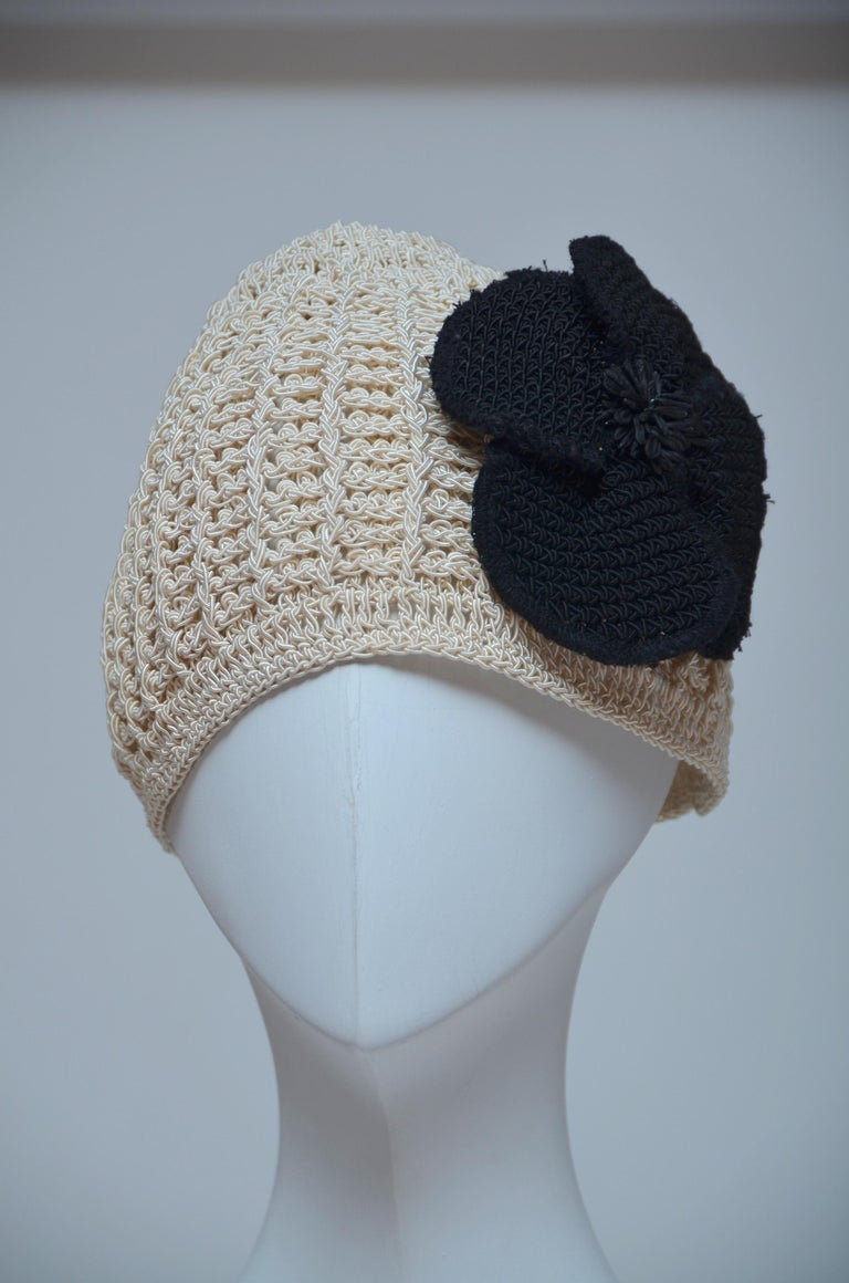 CHANEL Crochet Camellia Hat Beanie With Black Camellia Flower   Mint  For Sale 1