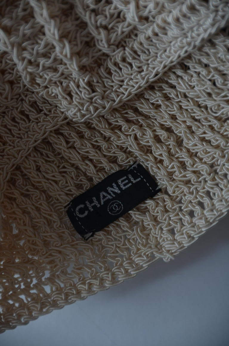CHANEL Crochet Camellia Hat Beanie With Black Camellia Flower   Mint  For Sale 3